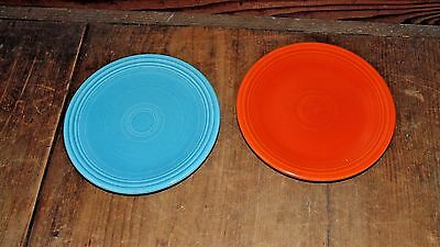 "2 Fiesta-ware 6 1/4"" Bread & Butter Plates Turquoise and Orange"