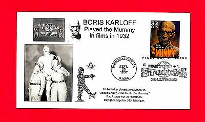 3171 Boris Karloff Mummy Fdc Abbott Costello Meet The Mummy Eddie Parker Masonic