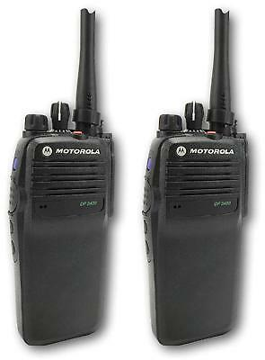 MOTOROLA DP3400 DIGITAL UHF 4 WATT WALKIE-TALKIE TWO WAY RADIOS & EARPIECES x 2