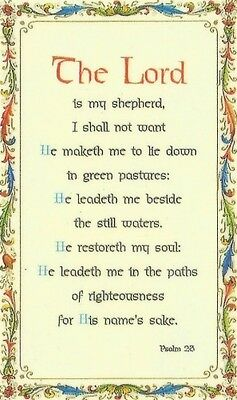 The Lord Is My Shepherd I Shall Not Want Psalm 23 Laminated Verse / Prayer Card