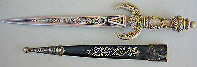 Collectible SPAIN Decorative Royal Dagger with Leather Metal Sheath 10 1/2""