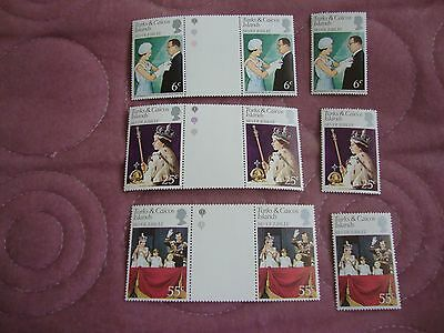 Queen Elizabeth 11 Silver Jubilee 1977, Turks & Caicos stamps, gutter pairs