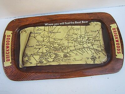 Vintage BRICKWOODS Pub Drinks Map Tray - Portsmouth Brewery