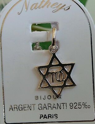 Pendant 0.925 sterling silver Star Of David Pendant Jewellery Hebrew Writing