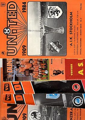 5 x Dundee United Home EUROPEAN COMPETITION MATCHES 1984 - 1986 Listed 6