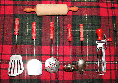 Children's VINTAGE RED WOOD HANDLE CHILD'S TOY PLAY KITCHEN UTENSILS SET