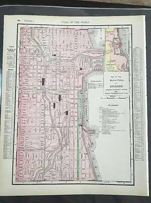 Antique Map Chicago Illinois Rand McNally 1895 Color Atlas Central Railroad Dock
