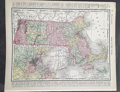 Antique Map Vermont Massachusetts Inset Boston  Rand McNally 1895 Color