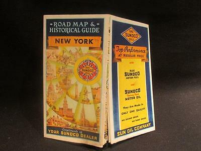 Sun Oil Co Sunoco 1937  Rand McNally Road Map & Historical Guide of New York