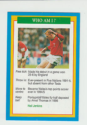 Rugby Union : Neil Jenkins : Wales : UK sports game card - blue back