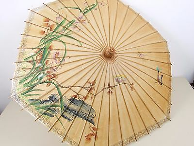 Vintage Bamboo and Paper Parasol