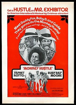 1976 Monkey Hustle Rudy Ray Moore blaxploitation movie release trade ad