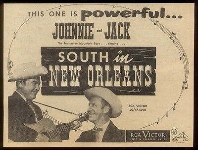 1953 Johnnie and Jack photo South in New Orleans   music trade ad