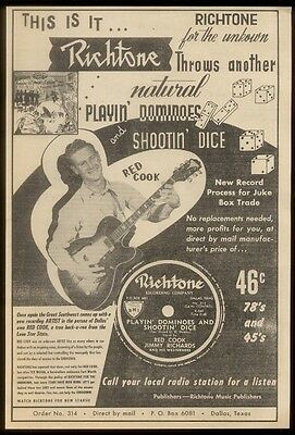 1953 Red Cook photo Richtone Records vintage trade print ad