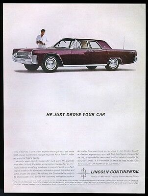1962 Lincoln Continental purple car photo vintage print ad