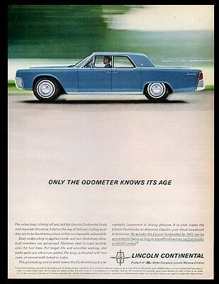 1962 Lincoln Continental blue sedan car color photo vintage print ad
