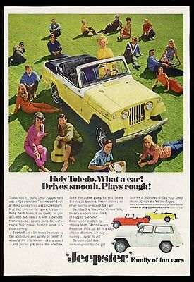1967 Jeep Jeepster yellow convertible photo vintage print ad