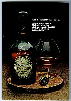 1970 Hennessy Bras D'Or cognac bottle and snifter photo vintage print ad