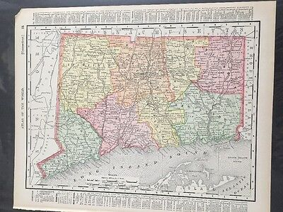 Antique State Map New York Connecticut Rand McNally 1895 1901 Color