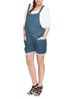 Hatch Collection The Romper Short Overall Maternity Blue Polka Dot