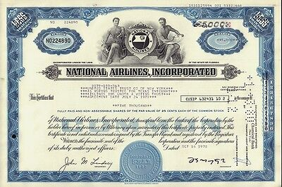 NATIONAL AIRLINES INC ORLANDO FLORIDA 5,000 sh iss to United States Trust Co NY