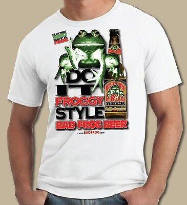 """BAD FROG BEER T Shirt - """" FROGGY STYLE"""", BEER Shirt. BEER T shirt, FROG T shirt"""