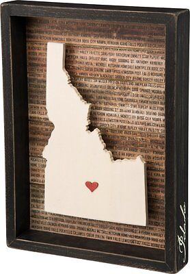 Idaho Box Sign Primitives by Kathy Cities State Shape Home Decor Red Heart