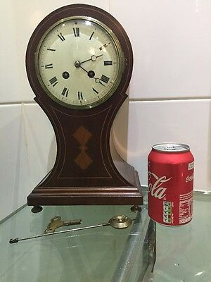 Large Antique Mahogany Balloon Mantle Clock