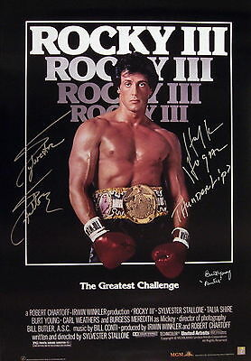 Sylvester Stallone, Hogan & Young Autographed ROCKY III 24x36 Poster ASI Proof