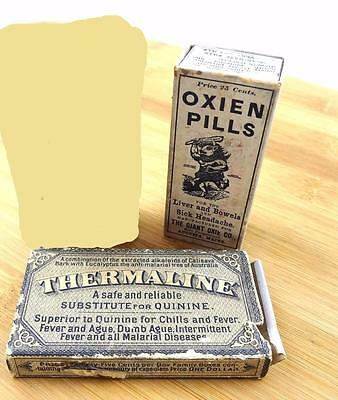 Antique Quack Med 1800s 1900s Remedy Boxes RARE Thermaline Quinine Sub Oxien Box