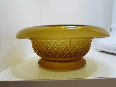 Art Deco Amber Frosted & Pressed Glass Trinkett Dish or Bowl - GB Made - VGC