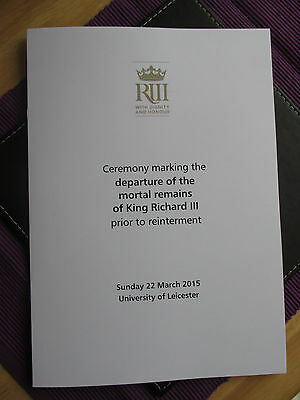 KING RICHARD III Order of Service LEICESTER UNIVERSITY March 2015 RARE!!!!!!
