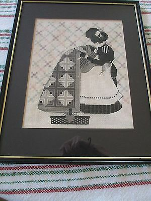 Vintage Framed Cross Stitch Black White Woman Quilter Quilt Needlepoint