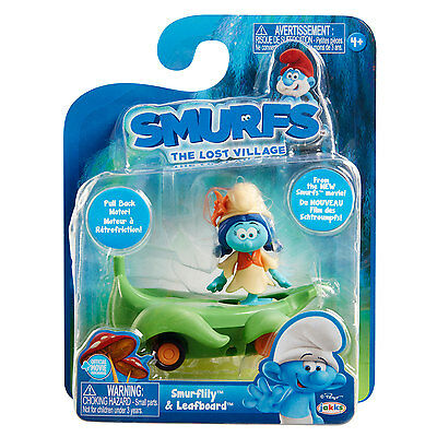 Smurfs The Lost Village Pullback Vehicle - Smurflily and Leafboard