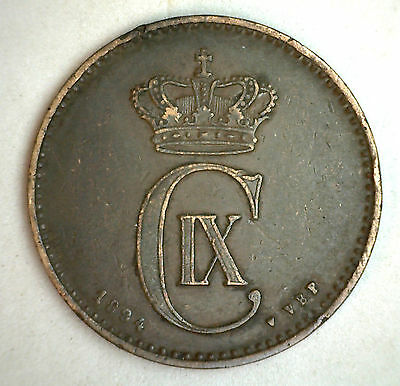 1894 Bronze Denmark 2 Ore Coin Currency VF