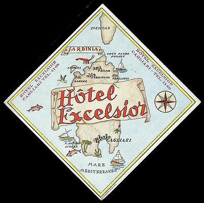 Hotel Excelsior CAGLIARI Italy - vintage luggage label