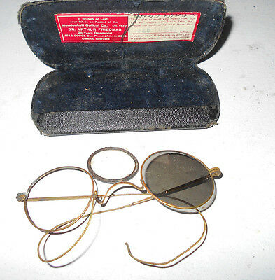 Antique Vintage Metal Wire Round Eye Glasses Frames Shades Monocle Dr Friedman