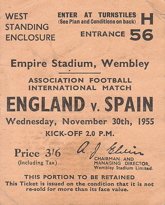 ENGLAND v SPAIN 30/10/1955 PROGRAMME AND TICKET.