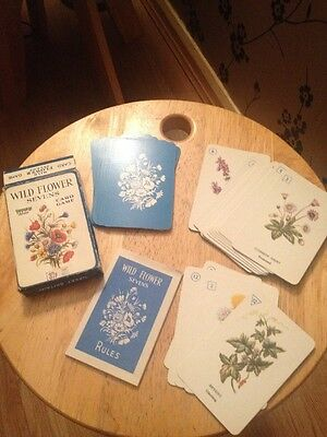 Vintage Wild Flowers Sevens Card Game By Pepys Boxed With Instructions Vgc