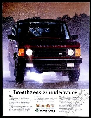 1991 Land-Rover Range Rover red SUV in rain photo vintage print ad