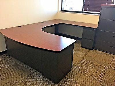 6ft x 8 1/2ft U-SHAPE DESK by STEELCASE OFFICE FURNITURE in CHERRY finish top