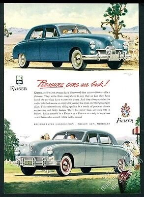 1947 Kaiser-Frazer sedan 2 car color art vintage print ad