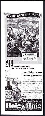 1940 General Custer vs Sitting Bull Haig & Haig Scotch whisky vintage print ad