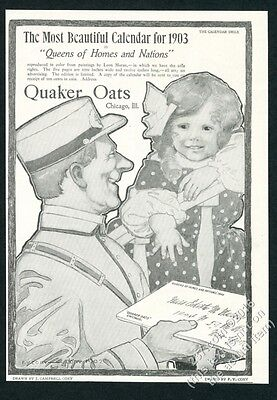 1902 F.Y. Cory mailman little girl art Quaker Oats vintage print ad