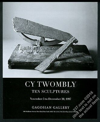 1997 Cy Twombly sculpture photo NYC gallery show vintage print ad