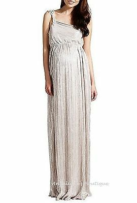 Rock-A-Bye Rosie Maternity Shimmery Silver Gem Party Maxi Dress Size 8 New