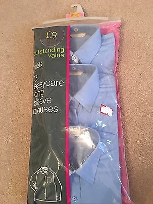 M&S Girls Blue School Easy Care Long Sleeve Blouses. Pack Of 3. Age 12. NEW