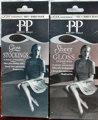 2 Pairs Pretty Polly Barely Black Gloss Stockings One size