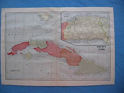 1899 Spanish American War Lithograph Map of Cuba - Very Detailed - FRAME IT