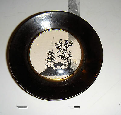 Antique Miniature Silhouette Picture Of Deer In Circular Frame